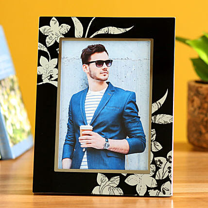 Online Floral Black Personalised Photo Frame:Personalised Photo Frames