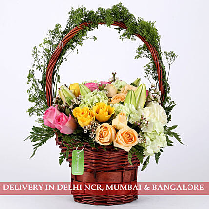 Floral Delight Basket Arrangement