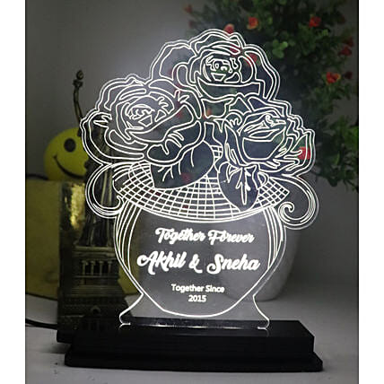 Floral Love Personalised LED Lamp