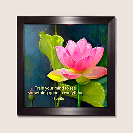 Floral Painting With Buddha Quote
