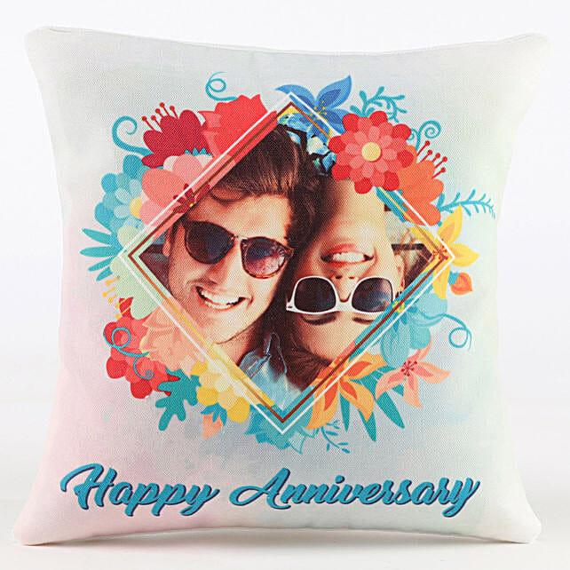 happy anniversary with photo printed cushion
