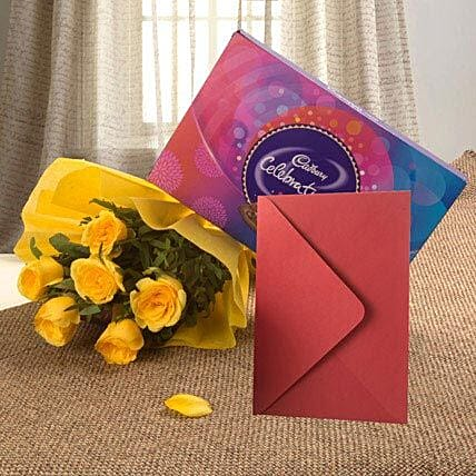 Flower Hamper N Greeting Card - Bunch of 6 Yellow Roses, 119gms Celebration Pack with Greeting Card.:Wedding Gifts to Vapi