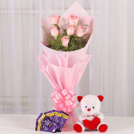 Flowers n Soft toy - Bunch of 6 Pink Roses with 5 Cadbury 14gm each & 6inch Cute Soft toy. womens day women day woman day women's day:Kiss Day Soft Toys