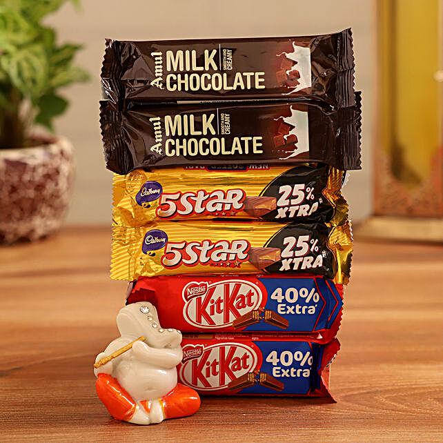 Order  Ganesha Idol With Chocolates:Diwali Combos