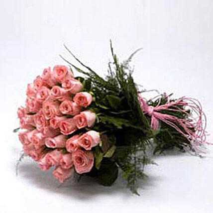 Fondest Affections - Bunch of 30 pink roses.