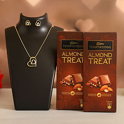 Forever Heart Necklace Set Cadbury Almond Treats:Ilina Gift Sets