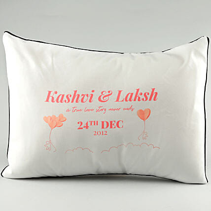 Couple Name Printed Pillow Cover