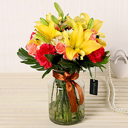 Online Mix Flowers In Fishbowl Vase