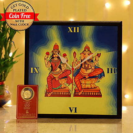 Online Laxmi Ganesh Wall Clock For Diwali:Ganesh and Lakshmi Idols