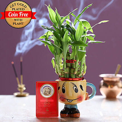 Free Gold Plated Coin With Lucky Bamboo Smiley Pot