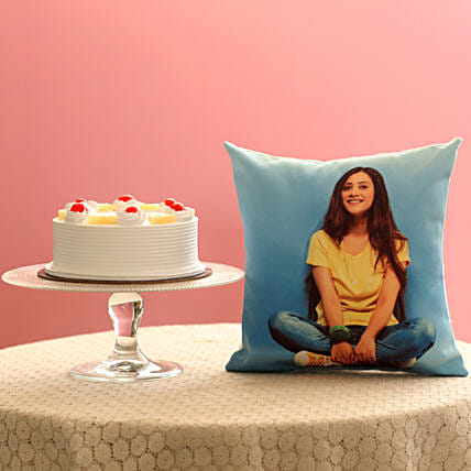 Online Cake with Cushion Combo:Cakes N Personalised Gifts