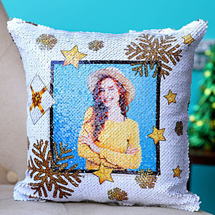 Frosty Christmas Personalised Sequin Cushion Hand Delivery