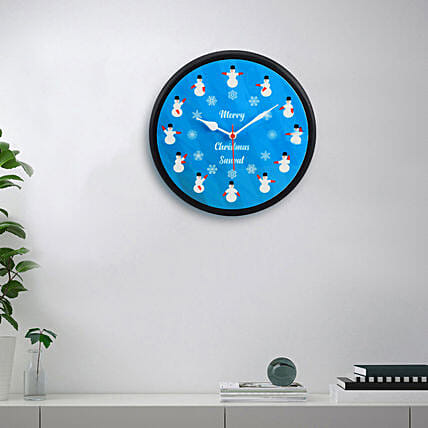 Frosty Merry Christmas Personalised Wall Clock