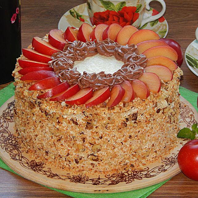 Fruit Walnut Designer Cake:Send Fresh Fruit Cakes