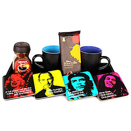 tastic Four Hamper-4 celebrity printed coasters,2 black ceramic coffee mugs,100 grams Nescafe Classic,90 grams Cadbury Bourneville chocolate