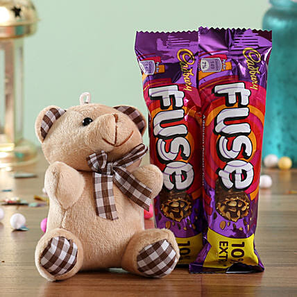 Teddy and Chocolate Bar Combo for Her:Soft toys for birthday