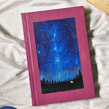 Galaxy Handpainted Purple Hardbound Notebook