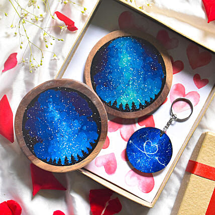Galaxy Of Love Coasters And Keychain Combo