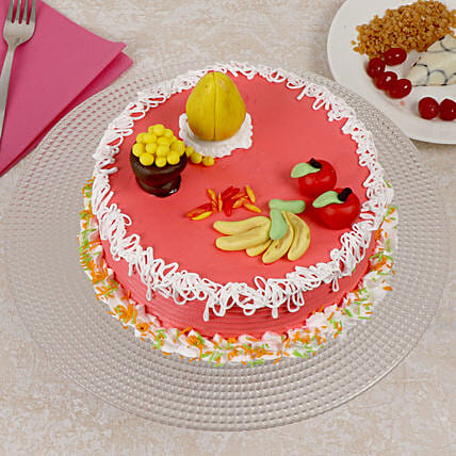 Fondant Vanilla Cake:Ganesh Chaturthi Gifts