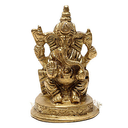 Ganesha Brass Idol-Lord Ganesha brings good luck,prosperity and wisdom in the lives of people:Send Spiritual Gifts
