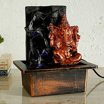 Ganesha Diya Shaped Fountain Copper