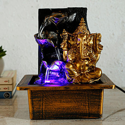 Ganesha Diya Shaped Fountain Golden