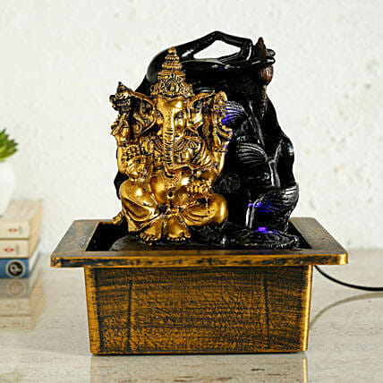 Ganesha Golden Fountain With Meditating Hands