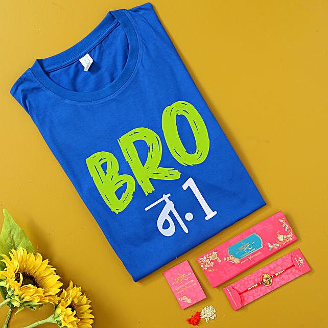 Ganesha Rakhi and Personalised Blue T-Shirt Hamper