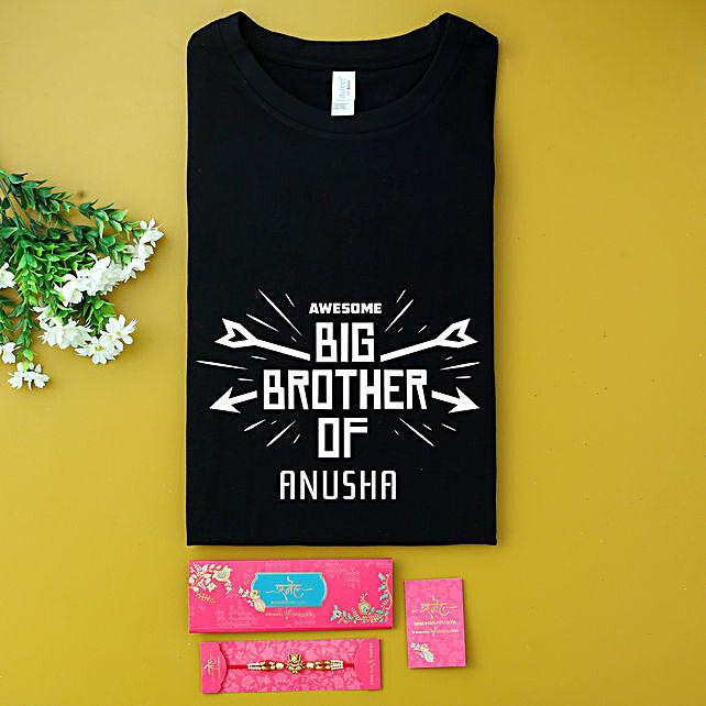 Ganesha Rakhi And Personalised Name Black T-shirt