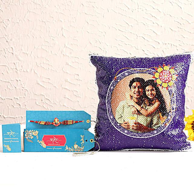 Ganesha Rakhi & Personalised Sequin Cushion Hamper