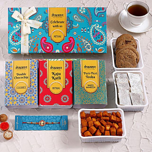 Ganesha Rakhi With Sweet and Savoury Delights