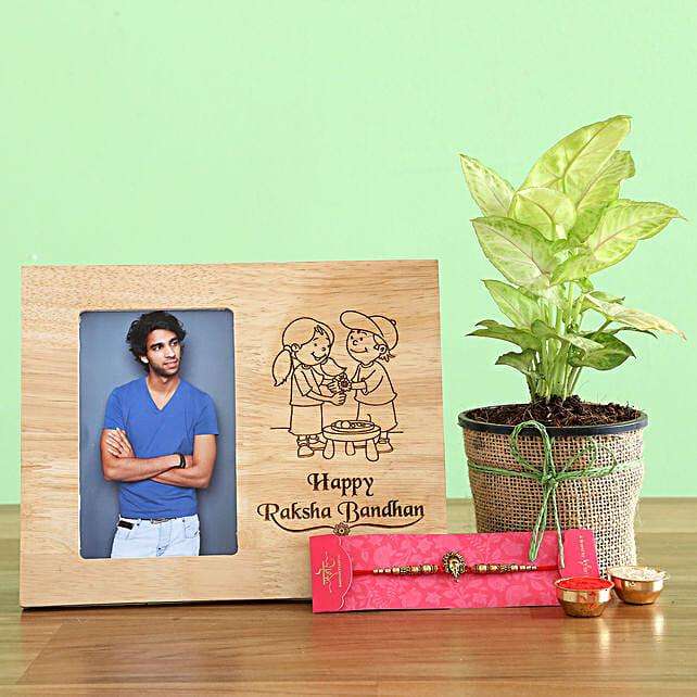 Ganesha Rakhi With Syngonium Plant and Personalised Frame