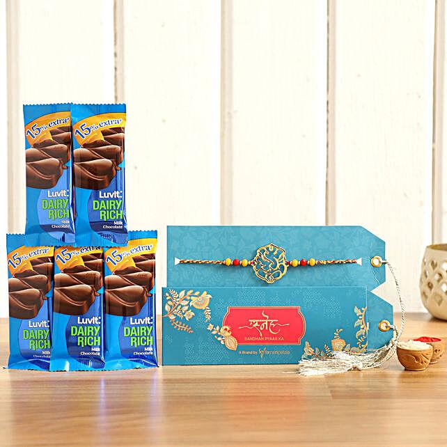 Ganesha Religious Rakhi and Luvit Chocolates:Send Luvit Chocolates