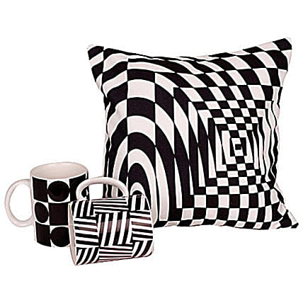 Get Edgy-12x12 inches cushion along with 2 ceramic coffee mugs