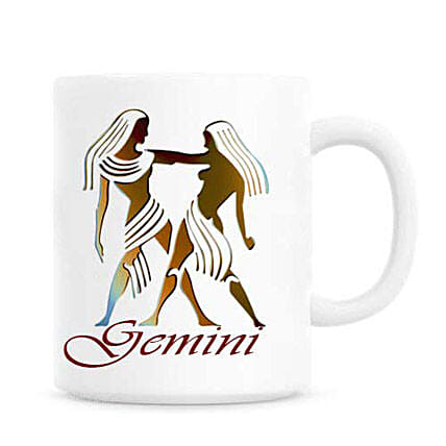Gift Gemini Mug-white ceramic base mug with a Gemini print over it