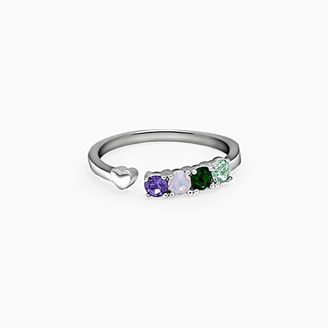 GIVA Silver Gemstone Little Heart Ring