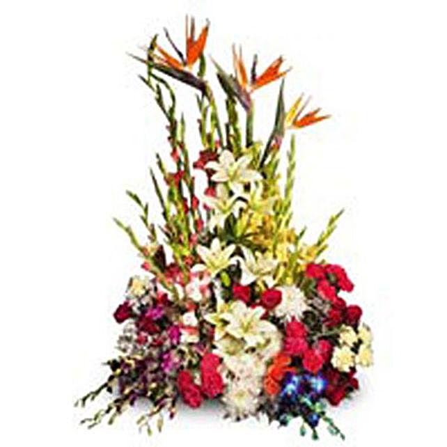 Glamorous Encounter - 100 mix seasonal flowers in a basket.