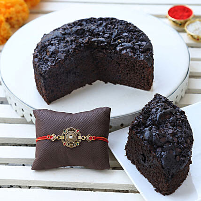 gluten free choco dry cake & designer rakhi online