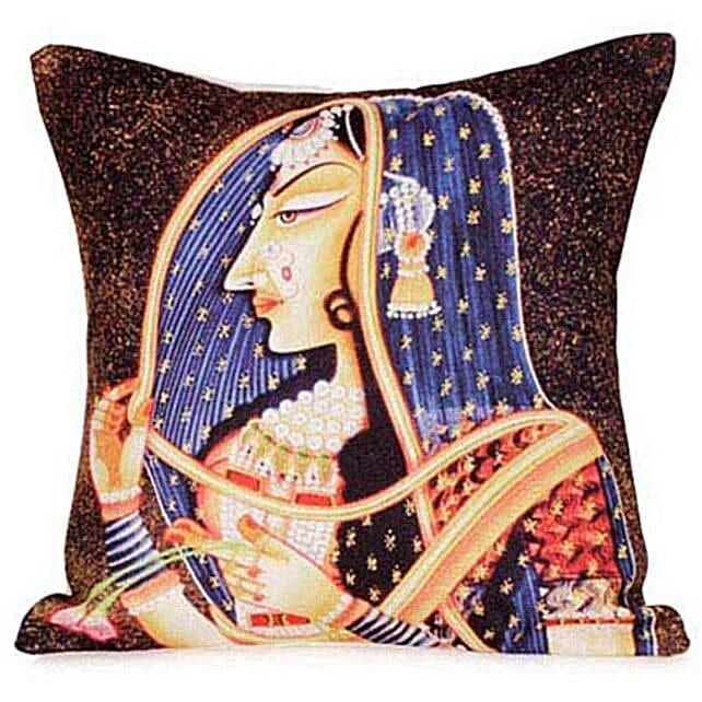 Go Royal With Cushion-12x12 Rajasthani Girl printed cushion
