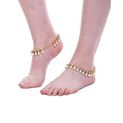 kundan anklet for her:Send Jewellery Gifts