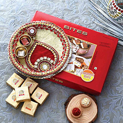Gold & Red Pooja Thali With Mewa Bite Combo:Bhai Dooj Combos