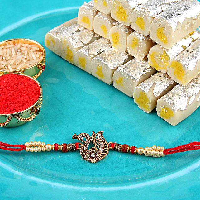 Golden Peacock Rakhi Combo