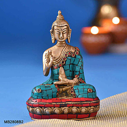 Golden Stone Work Sitting Buddha Idol