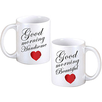 Good Morning Couple Mugs-2 White Coffee Mug with Good Morning Handsome,Good Morning Beautiful texts on it,along red hearts