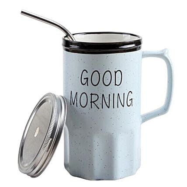Online Good Morning Mug With Straw