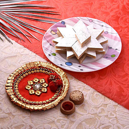 Gorgeous Red Pooja Thali With Kaju Barfi Combo