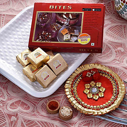 Gorgeous Red Pooja Thali With Mewa Bite Combo:Bhai Dooj Combos
