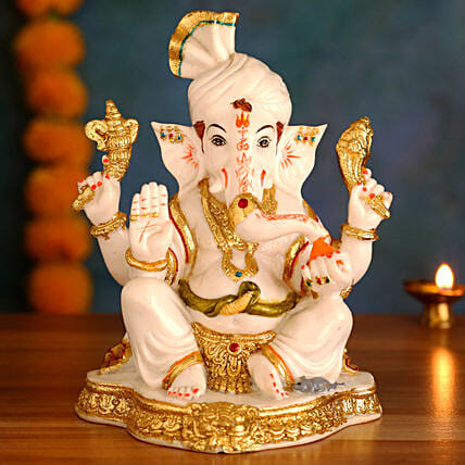 Gorgeous White Gold Raja Ganesha Idol:Gifts for Dhanteras