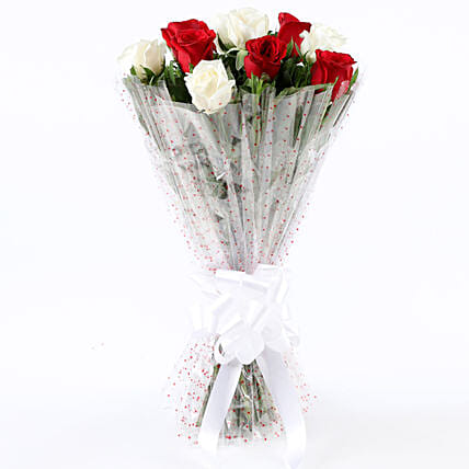 White and Red Rose Bouquet for Her