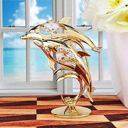 Swarovski golden dolphin:Gold Plated Gifts